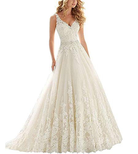Asoiree Women's Lace Appliques V-Neck Formal Evening Crystal Sleeveless Prom Dress Court-Train Ivory