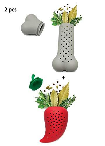 Silicone Herb Spice Tea Mesh Infuser Set of 2, Cute Shaped Herb Tea Strainer Steeper Washable Tea Cup Fliters BPA-Free Mesh Tea Ball for Loose Leaf Tea (bone shape and chili shape) ()