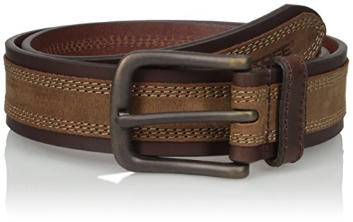 (Real Tree Men's Two Tone Contrast Stitch Crazy Horse Genuine Leather Belt, Brown, 38)