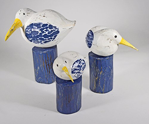 Hand Carved Painted Wood Set of 3 Carving SHOREBIRD Sandpiper Bird Decoy Vintage ()