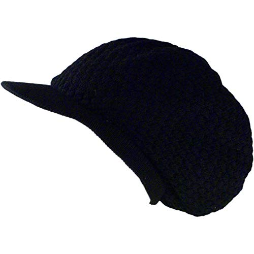 Shoe String King SSK Rasta Knit Tam Hat Dreadlock Cap (Large Round Solid Black w/Brim)]()