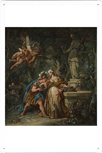 (Artwork Oil Paint of Jean-Francois Detroy - Jason swearing Eternal Affection to Medea on Tin Sign by Masterpiece Collection (20*30cm))