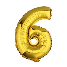 32 inch Gold Helium/Foil Balloon Number 6
