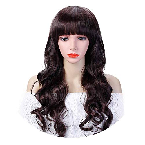 Synthetic Hair Long Wavy Wig With Bangs Costume Halloween Party Heat Resistant Cosplay Wig For Women,#33,22inches]()