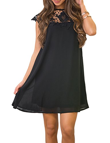 Ellies Women's Short Sleeve Crochet Chiffon A-Line Mini Dresses Summer Sundress, Black, Size M (Black Chiffon A-line)