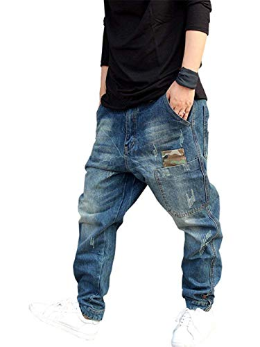 Jeans Pantaloni Blau Lunghi Gamba Larga Cargo Attillata Especial Hop Punk Dance Uomo Denim Vestibilità Hip Estilo r7rawxqAf