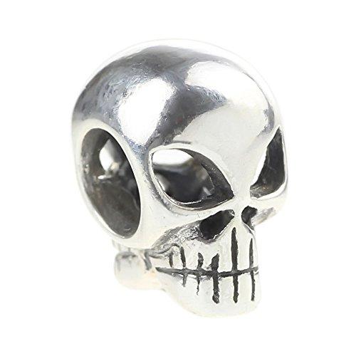 Beads Hunter Sterling Silver Alien Skull .925 Sterling Silver Bead Charm (Silver Skull Sterling Bead)