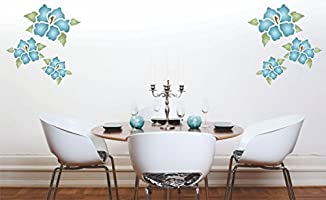 Glass Reusable Wall Stencils for Painting Best Quality Mural Wall Art Ideas Fabrics size 7 x 7 and More/… Use on Walls Floors Hibiscus Mural Stencil - Wood