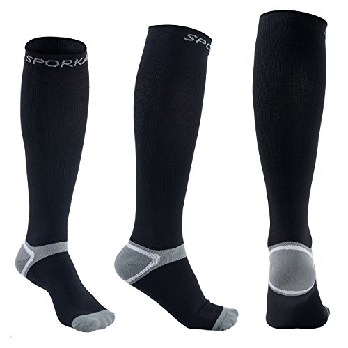 Compression Foot Sleeves by SPORKAT - Best Plantar Fasciitis Socks for Plantar Fasciitis Pain Relief, Heel Pain, and Treatment for Everyday Use with Arch Support