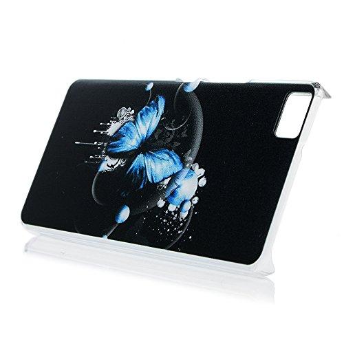 Funda BQ Aquaris M5, Carcasa Rígida PC Plástico, Lanveni Super Fit Ultrafina para BQ Aquaris M5 Transparente Protective Case(Patrón de mariposa azul) Diseño 2