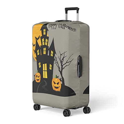 Pinbeam Luggage Cover Yellow Abstract Happy Halloween Bat Black Cardboard Cartoon Travel Suitcase Cover Protector Baggage Case Fits 18-22 -