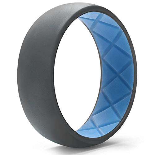 Egnaro Silicone Wedding Ring for Men, Dual-Tone Breathable Mens' Rubber Wedding Bands - One Ring with Two ()