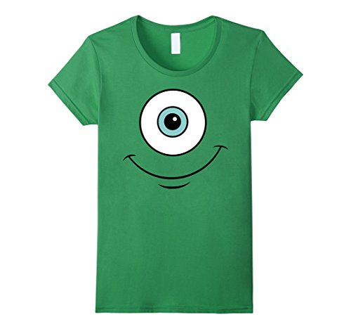Mike Wazowski Costume T Shirt (Womens Disney Monsters Inc. Mike Eye Smile Graphic T-Shirt Small Grass)