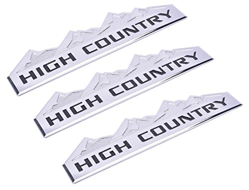 Aimoll 3pcs Country Emblem, Replacement for Badges Door Tailgate 3D Nameplate for Chevrolet Silverado 1500 2500HD Sierra 3500HD Chrome Black
