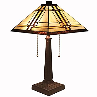 Bieye Lighting L11411 Tiffany Style Stained Glass Mission Table Lamp with 14 inches Handmade Shade and Zinc Base