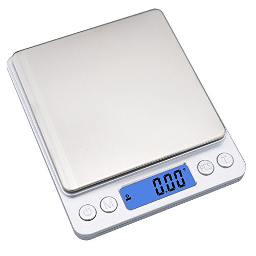 (Ewolee Digital Kitchen Food Scale,500g/0.01g Multifunction Electric Jewelry Scales,Digital Pro Pocket Scales with Stainless Platform,Silver(2 Batteries& 2 trays Included))