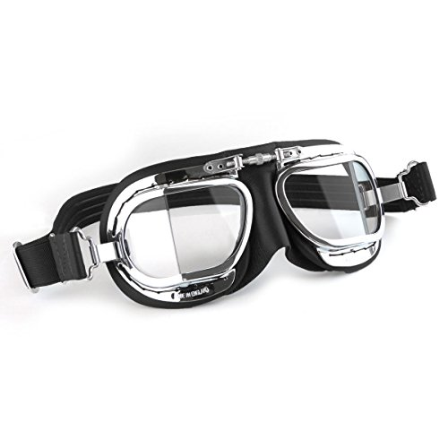 Over Black Leather - Halcyon Mk49 Black Leather Classic Motorcycle Compact Goggles/Classic Flying Goggles
