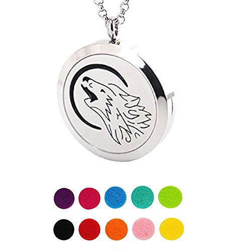 Stainless Steel Wolf Charm Locket, Aromatherapy Essential Oil Scented Diffuser Pendant Necklace 23.6