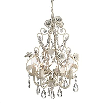 "16.5"" Romantic Antique Style Shabby Chic White Rose and Glass Bead Chandelier"