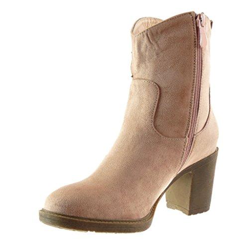 santiags Mode CM Angkorly etoile femme 5 Chaussure Bottine bloc cowboy Int Talon 7 haut TB7nqt4