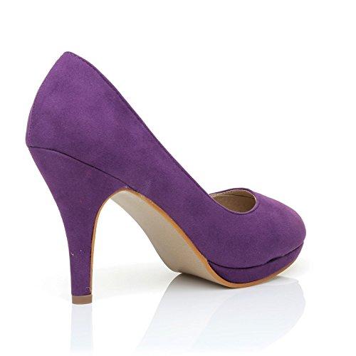 ShuWish UK Chip Purple Faux Suede Pumps Mid-High Heel Low Platform Office Court Shoes CVsUR5