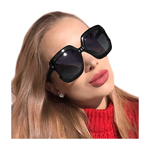 - MuJaJa Classic Oversized Womens Sunglasses Polarized UV Protection Fashion Large Square Gradient Frame Design Eyewear (Black with Gradient Grey)