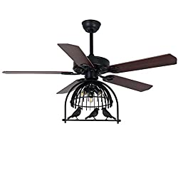 LITFAD 48 inch Ceiling Fan with Industrial Lights and Antique Birdcage Shade Kit,3 Lights,Black Finish