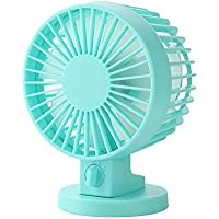 Double-vane, 2-Speed, Portable Mini USB Desk Fan Ultra-quiet Adjustable ABS Electric Creative Fan for Home Office Computer (Blue)