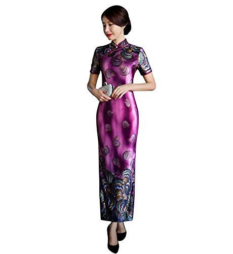 Drasawee Women's Long Pleuche Chinese Qipao Cheongsam Wedding Party Dresses Purple US6