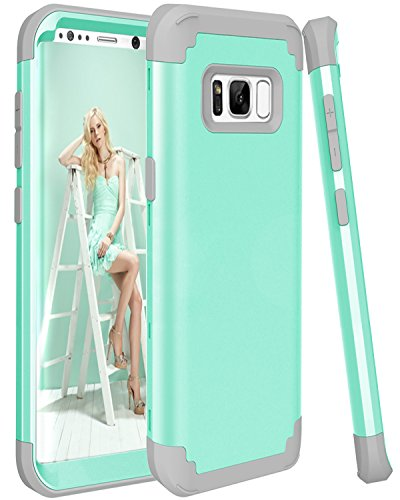 Galaxy S8 Plus Case SAVYOU Dual Layer Defense High Impact Shock Absorbing Hard PC Soft Silicone Hybrid Protective Cover Case for Galaxy S8 Plus Mint Blue