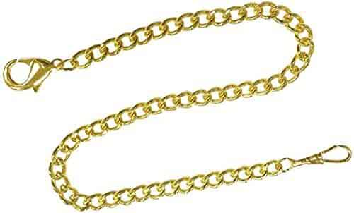 Pocket Watch Chain FOB Curb Link Design GoldTone 14 inches by ShoppeWatch 74GD