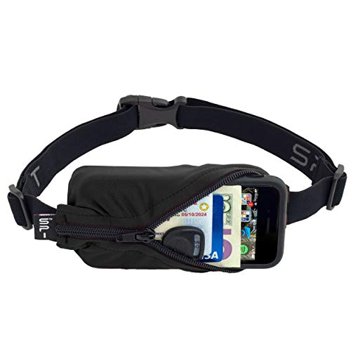 SPIbelt Running Belt: adult original pocket - no-bounce running belt for runners, athletes and adventurers (black with black zipper, 24