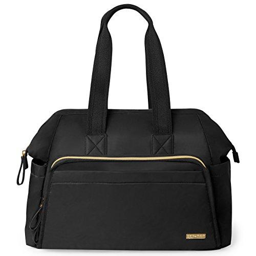 Skip Hop Messenger Diaper Bag, Mainframe Large Capacity Wide Open Structure, Black with Gold - Messenger Dash Diaper Bag