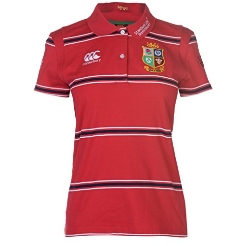 Canterbury Womens British and Irish Lions Rugby Polo Shirt Tee Top Cotton Stripe Red 18 (XXL)