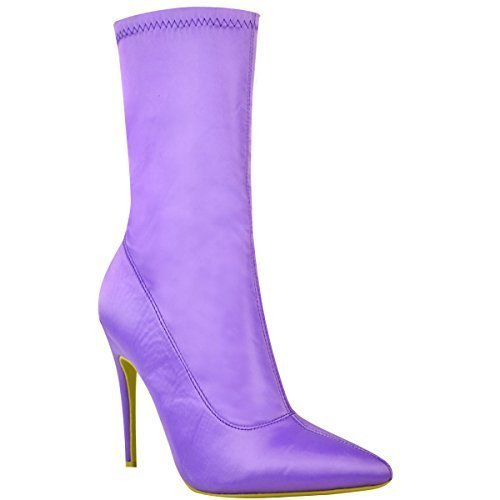 Womens Ladies Ankle Boots Stretch Lycra Stiletto High Heels Pointed Toe Shoes Lilac Satin oMRRZdEKfP