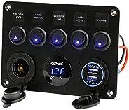 5 Gang Waterproof Rocker Switch Panel with DC 5V 4.2A USB Charger + DC 12V Socket + Digital Voltmeter Display