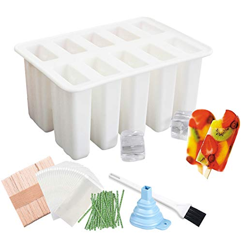Ice Pop Popsicle Silicone Mold with Lid BPA Free 10 Cavities Frozen Ice Cream Maker DIY Reusable with 50 Sticks, 50 Bags, Ice Pop Recipes, Funnel (White)