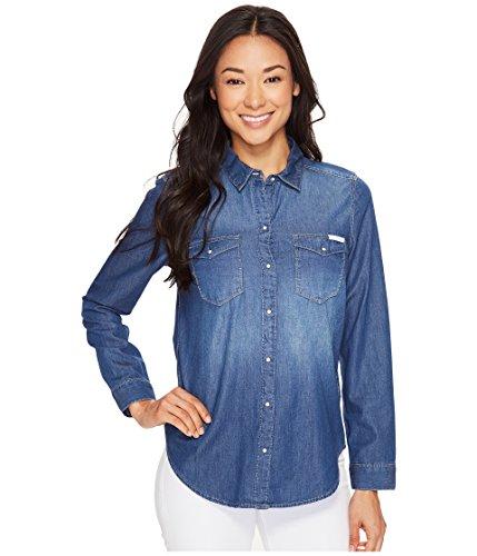 Calvin Klein Jeans Women's Long Sleeve Denim Edge Western Button Down Shirt, Brady Mid, LARGE ()