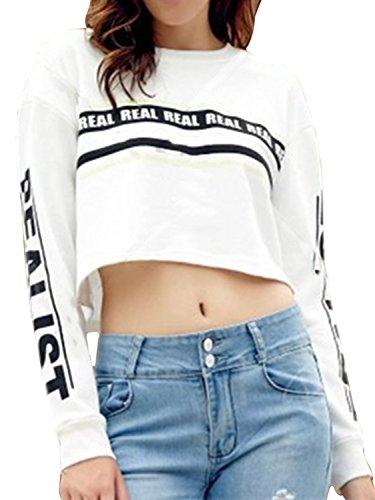 Stripe Tops Hoodie Tees (Joeoy Women's White Letter Print Long Sleeve Crop Top Sweatshirt-M)