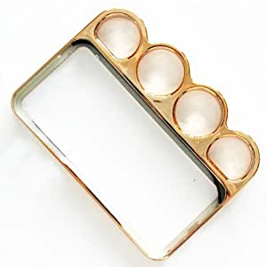 CHSH Cromo Anillo Nudillo duro Funda cáscara para Apple iPhone 4 4G 4S Dolado