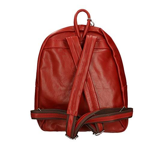 Chicca Genuina Rojo In 30x39x14 Cm Borse Bolso En Italy Mochila Made Piel 1n7Sp1qr