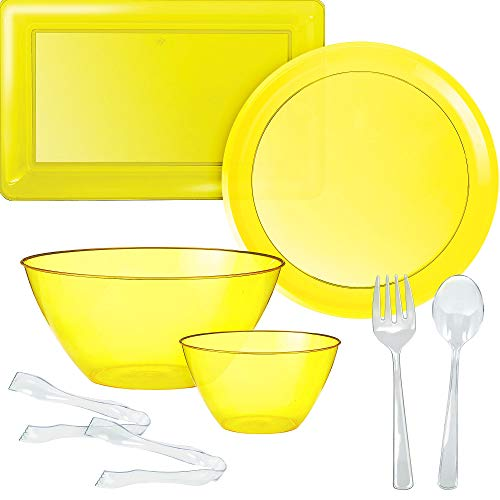 Party City Yellow Serveware Supplies, Includes 2 Plastic Platters, 2 Plastic Bowls, 2 Pairs of Tongs, and Utensils