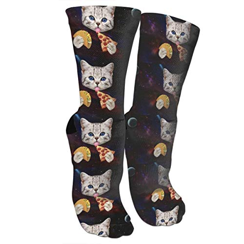 Space Cat With Taco And Pizza Compression Socks Unisex Printed Socks Crazy Patterned Fun Long Cotton Socks Over The Calf Tube