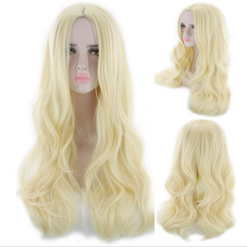 Wig - Halloween Colored Curls - Fashion Women's Growth Hair - Non-Mainstream Big Wave Hair Set - Beauty & Personal Care,Yellow