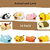 YMH Cable Protector for iPhone iPad Cable Android Samsung Galaxy Cord Plastic Cute Land Animals Phone Accessory Protects USB Charger Data Protection Cover Chewers Earphone Cable Bite (Animals, 10pc)