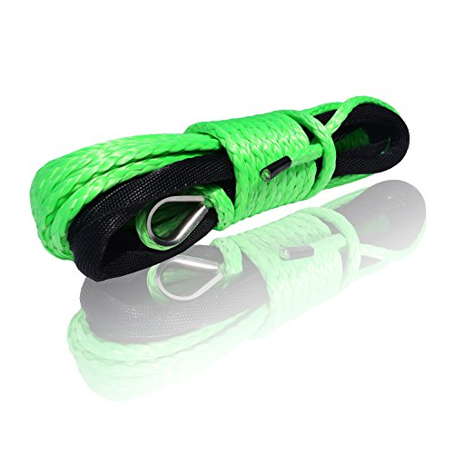 QIQU 1/4 inch Synthetic Winch Rope Cable Winch Rope for Snow Plow ATV and Electronic Winch Including Sleeve BS: 6500lb (1/4'', ()