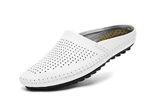 V.J Men's Classic Handsewn Genuine Leather House Slippers Office Slippers Casual Breathable Sandals KS805-B42-8.5 White
