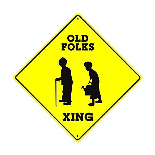 OSWALDO Old Folks Xing Funny Elderly Road Crossing Aluminum Metal 12x12 inch Sign Décor