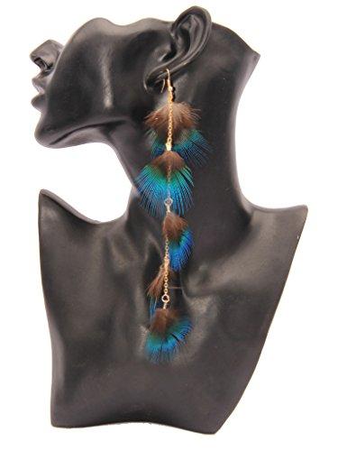 - Soyagift Long Peacock Feather Drop Earrings Gold Tone Ear Wire Eardrop