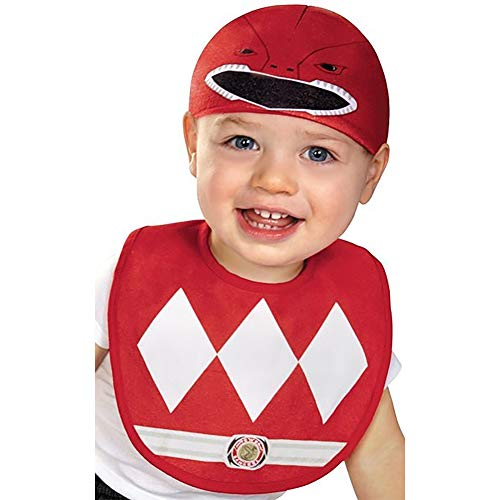 (Disguise Baby Saban Power Rangers Mighty Morphin Red Ranger Infant Bib and Hat Costume, Red, 0-6)